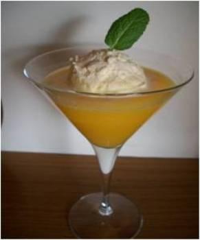 Zumo de naranja con helado